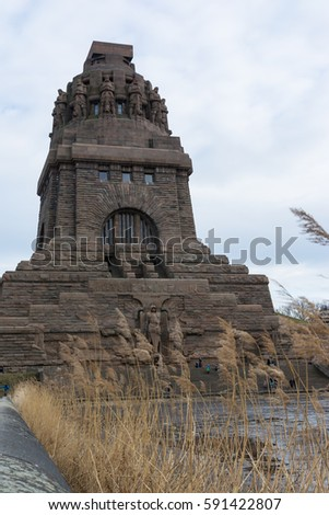 Leipzig Voelkerschlachtdenkmal Monument Battle Military Tower Destination Sights City Germany European Architecture Entrance Front See der Traenen