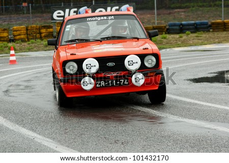 LEIRIA, PORTUGAL - APRIL 20: Goncalo Figueiroa drives a Ford Escort MkII during Day One of Rally Verde Pino 2012, in Leiria,  Portugal on April 20, 2012.