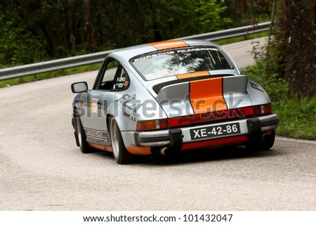 LEIRIA, PORTUGAL - APRIL 20: Pedro L Antunes drives a Porsche 911 during Day One of Rally Verde Pino 2012, in Leiria,  Portugal on April 20, 2012.
