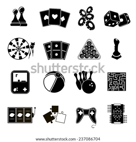 Leisure games sport and gambling casino icons set black isolated  illustration - stock photo