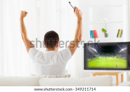 leisure, technology, media, sport and people concept - man watching football game on tv and supporting team at home from back - stock photo