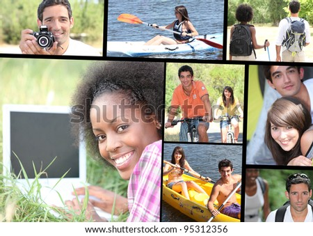 Leisure time themed montage - stock photo