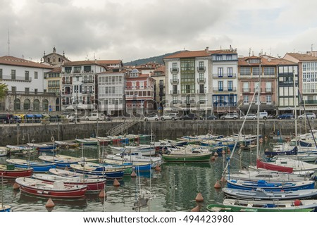 LEKEITIO - SEP 22 : Panoramic and harbor view on September 22. 2016 in Lekeitio town, Vizcaya, Basque Country, Spain.