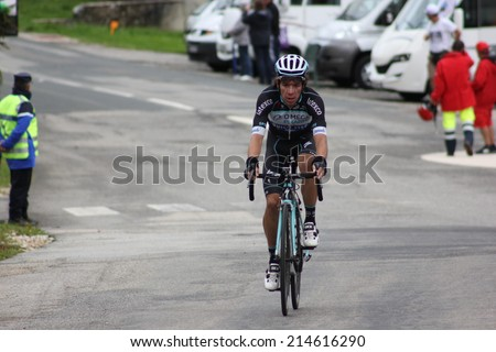 LELEX, FRANCE - AUG 15: Rigoberto Uran, colombian rider, riding Le Tour de l'Ain UCI Europe Tour Pro Race on August 15, 2014 in Lelex, Monts du Jura, Ain, France. Bert-Jan Lindeman won the race.