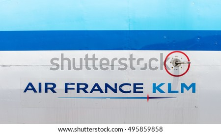 LELYSTAD, THE NETHERLANDS - JUNE 9 2016 - Close-up of Air France KLM logo on airplane.