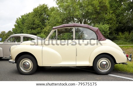 LELYSTAD, THE NETHERLANDS - JUNE 19: 1970 Morris Minor 1000 Tourer on display at the annual National Oldtimer day, held June 19, 2011 in Lelystad, The Netherlands - stock photo