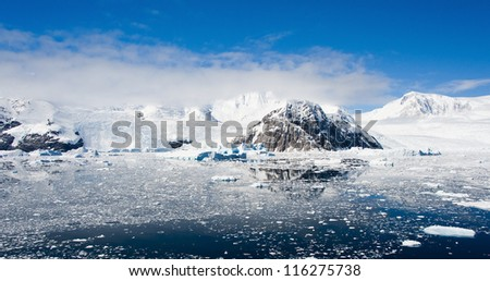 Lemaire channel in Antarctica, bright sunny day - stock photo
