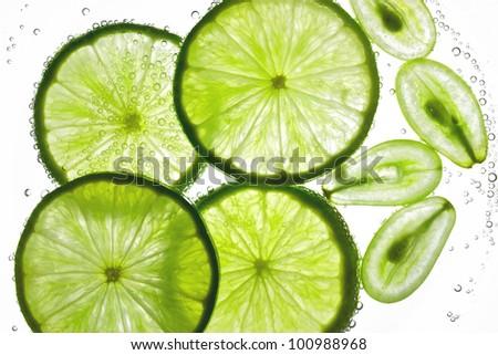 Lemon and grape juice - stock photo