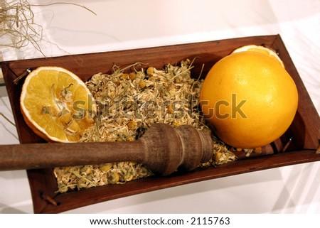 lemon and herbs - stock photo