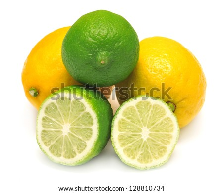 Lemon and lime isolated on white background - stock photo