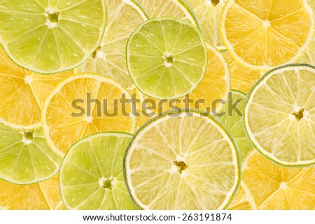 Lemon And Lime Slice Abstract Seamless Pattern - stock photo