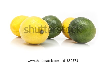 Lemon and Limes on a White Background