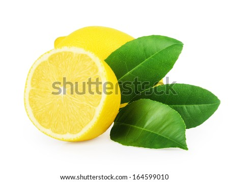 Lemon and slice with leaves isolated on white - stock photo