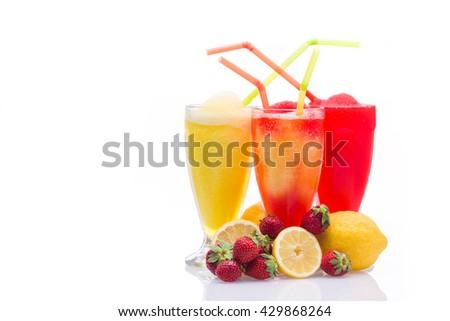 Lemon and strawberry Granita slush refreshment - stock photo