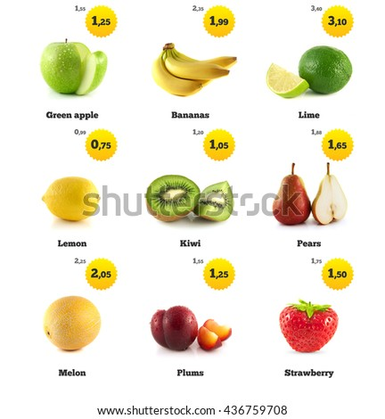 Lemon, apple and banana. Kiwi, strawberry and pear. Melon galia, plum and lime isolated. Fresh natural pear. Health organic pear. Food with price tags on white. Fresh tasty pear. - stock photo