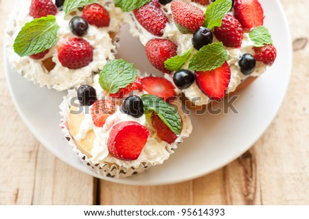 Lemon Cake topped with whipped cream, fresh fruits and mint 2
