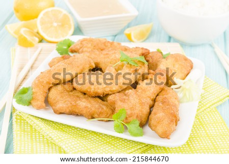 Lemon Chicken - Chinese style battered chicken served with sweet lemon sauce.