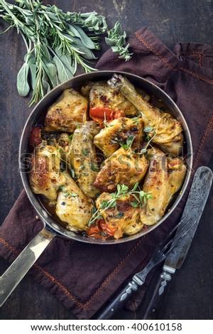 Lemon Chicken in Casserole - stock photo
