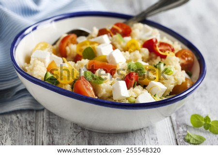 Lemon Couscous with Cherry Tomatoes, Mint and Feta
