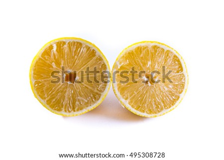 Lemon Cross Section Fruit Cut Slice Piece Texture Fresh Juicy Yellow White Isolated Background Closeup