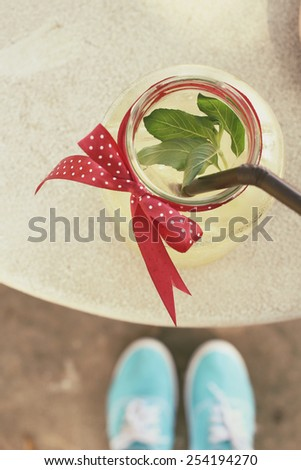 Lemon drink with mint - stock photo