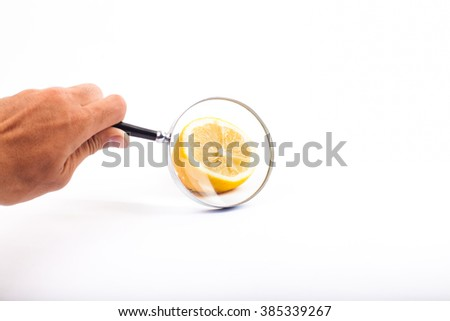 lemon fruit see through magnificent glass with white background