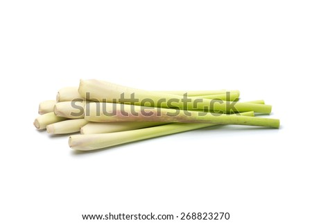 lemon grass isolated on white background - stock photo