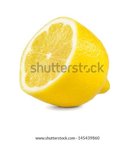 lemon half isolated on white background - stock photo