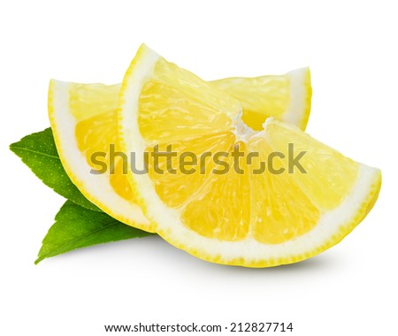 lemon half isolated on white background - stock photo