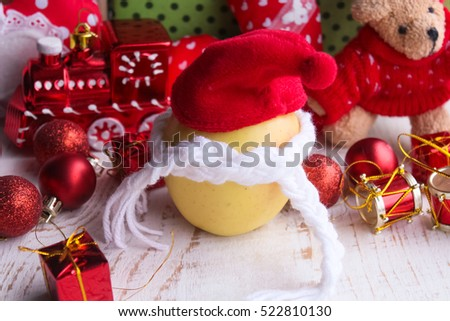 lemon in Christmas hat.New Year decorations