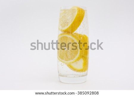Lemon in the bubbles - stock photo