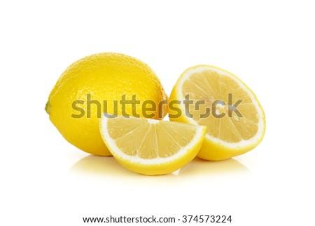 Lemon isolated on the white background . - stock photo