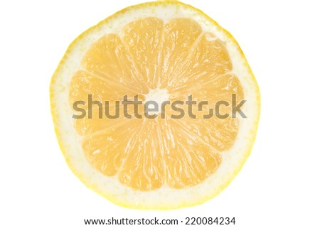 Lemon - isolated ripe fruit against white background with a little twig  - stock photo
