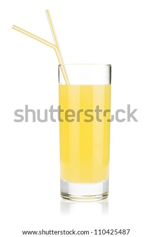 Lemon juice glass with two drinking straw. Isolated on white background