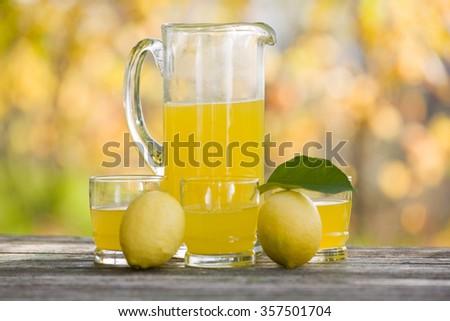 lemon juice on a wooden table, autumn set, outdoor - stock photo
