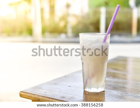 Lemon juice on wood table
