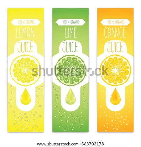 Lemon, lime and orange fresh juice label template for citrus fruit products. Three banners with fruit slices, juice drops and bubbles. - stock photo