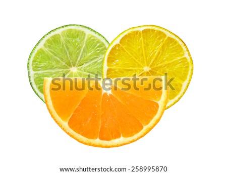 Lemon, lime and orange slices isolated on white background - stock photo