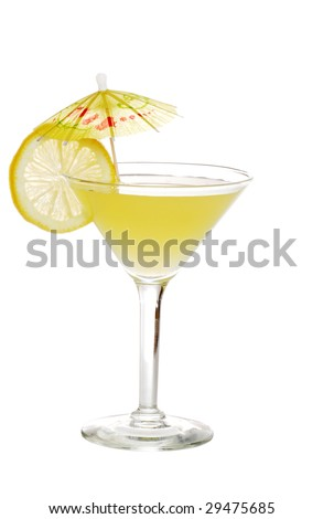 lemon martini with a slice of lemon