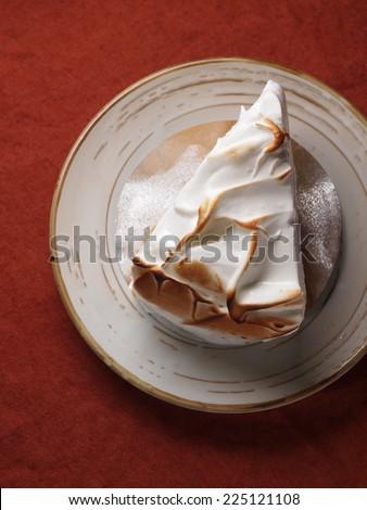 Lemon meringue cake, homemade bakery - stock photo