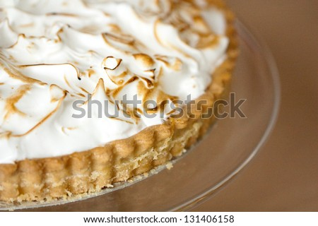 Lemon meringue pie close up - stock photo