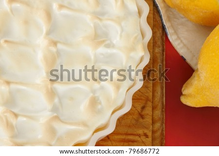 lemon meringue pie overhead shell texture shot - stock photo