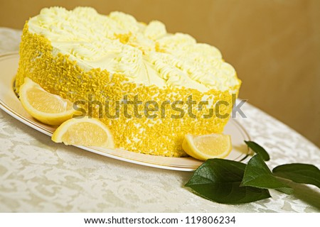 Lemon Mousse Torte Cake - stock photo