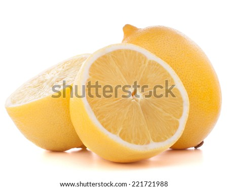 Lemon or citron citrus fruit isolated on white background cutout - stock photo