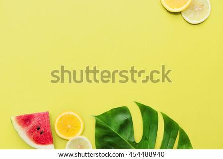 Lemon Orange Watermelon Leaf Juicy Vitamin Concept - stock photo