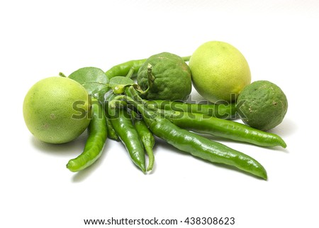 Lemon , pepper , bergamot , isolated on a white background .