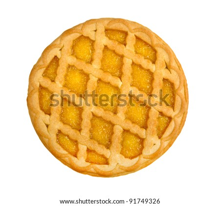 lemon pie isolated on a white background - stock photo