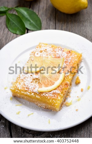 Lemon pie on white plate