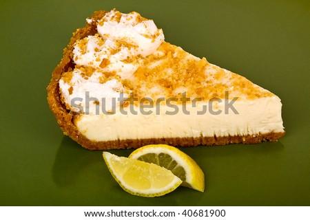 Lemon pie slice closeup. - stock photo