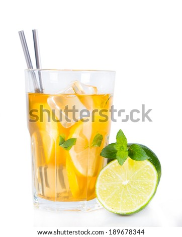 Lemon, slice and mint ice tea isolated on white background. Summer concept. Refresh drink.